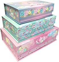 Decorative Nesting Storage Boxes with Lids Stackable Box Set with Cute Designs for Girls, Kids - Containers for Storage an...