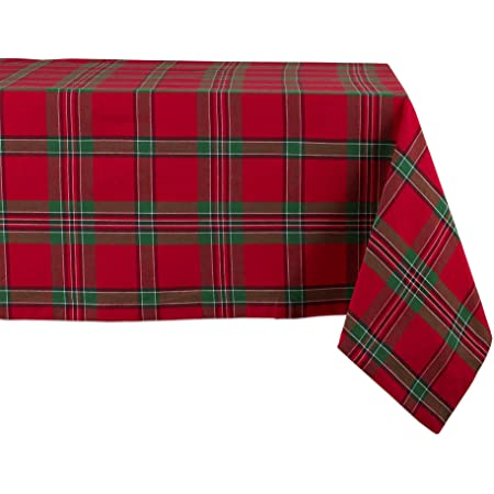 Plaid  Cross Check Tartan Red White Green Winter Cotton Sateen Tablecloth by Spoonflower Christmas Tablecloth X Plaid  by shopcabin