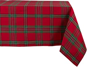 """DII Holiday Plaid Square Tablecloth, 100% Cotton with 1/2"""" Hem for Holiday, Family Gatherings, & Christmas Dinner (60x84""""..."""