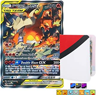 Reshiram & Charizard GX Tag Team Black Star Promo Holo Card - SM201 Foil Rare with Totem World Mini Binder Collectors Album - Compatible with Standard Pokemon Cards