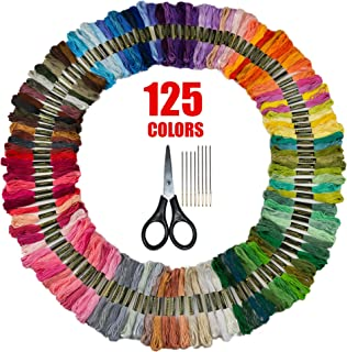 Bulk Rainbow Embroidery Floss - Embroidery Kit - Friendship Bracelet String - Cross Stitch Thread - Crafting String - 125 Colors + Free Scissors and Needles