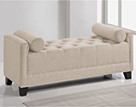 Baxton Studio Hirst Bedroom Bench, Light Beige