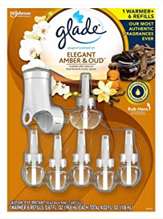 Glade Elegant Amber & Oud PlugIns Scented Oil Air Freshener Refills with Warmer