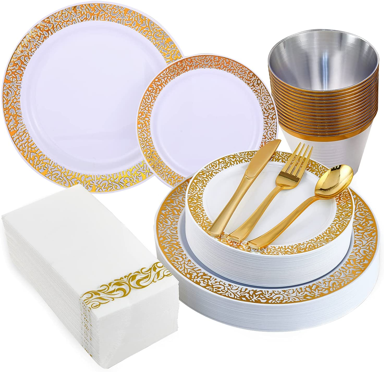 210 Pieces Sale Special Price San Jose Mall Gold Plastic Plates Incl Dinnerware Disposable