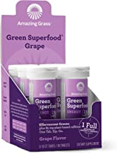 Amazing Grass Green Superfood Energy: Effervescent Energy Drink Tablets, Green Tea Caffeine for energy plus One serving of Greens and Veggies, Grape Flavor, 60 Servings