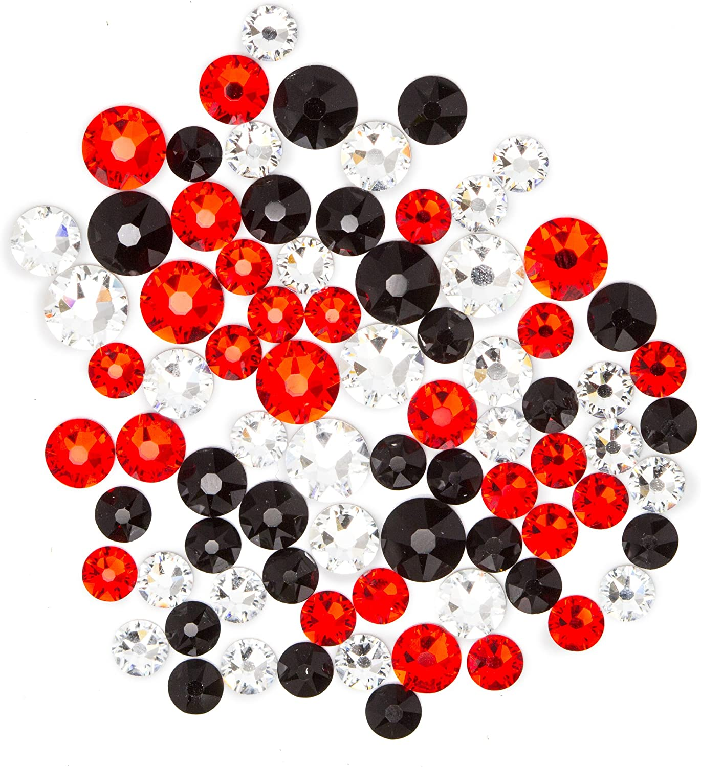 Swarovski  Create Your Style Hotfix Crystal Mix Red, White, and Black 3 Packages of 80 Piece (240 Total Crystals)