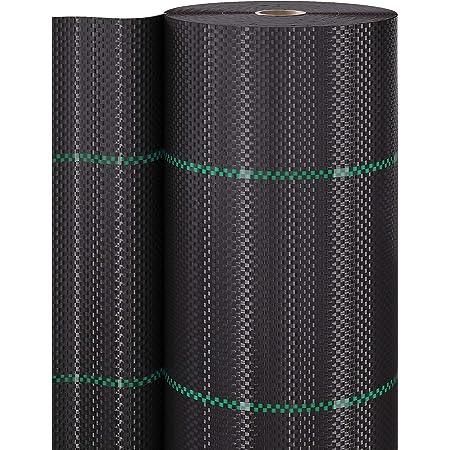 GardenGloss 50m² Toile de paillage Anti Mauvaises Herbes 100 g/m² - Film géotextile Anti Mauvaises Herbes indéchirable – Haute sensibilité aux UV (50m x 1m, 1 Rouleau)