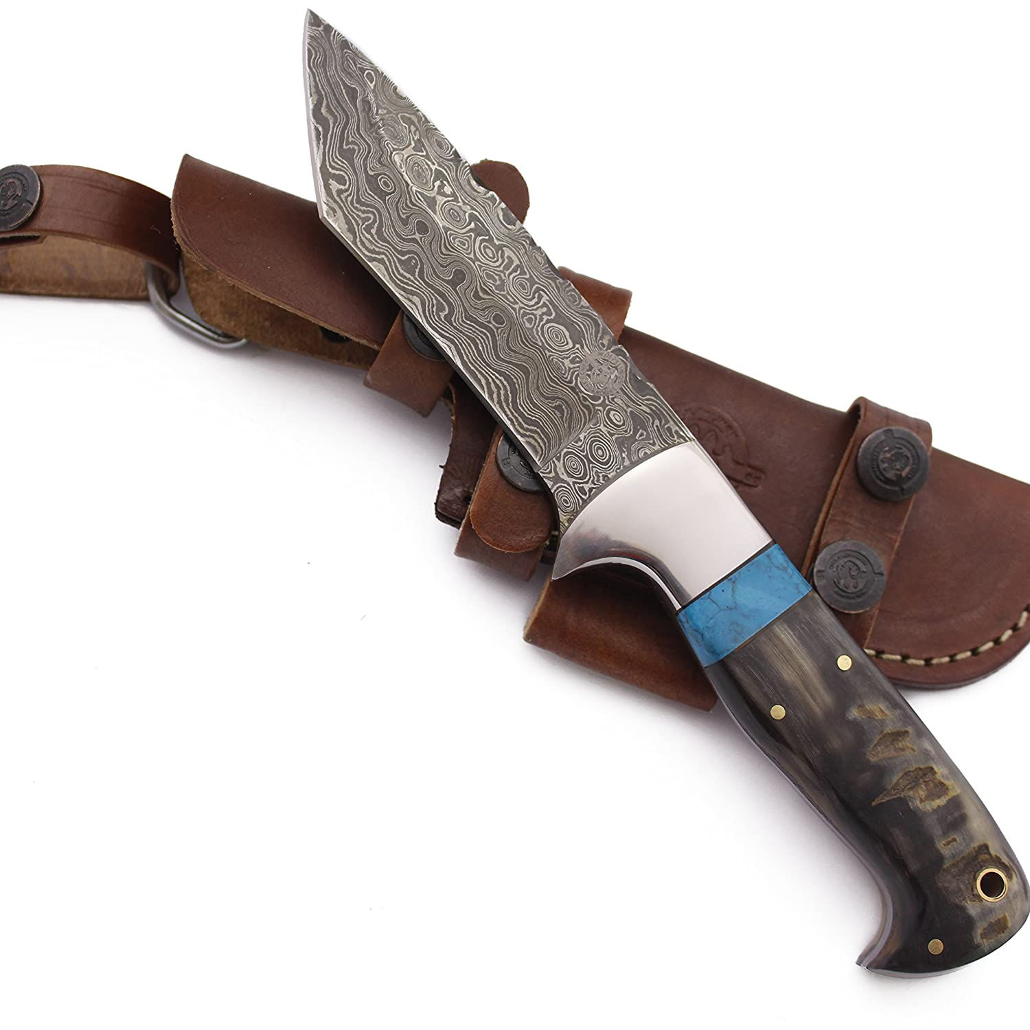 WolfKlinge DCX17-72 Handmade Damascus Steel Hunter, Sheep Horn Handle, with Cowhide Leather Sheath … Be the first to review this item hodxhg0900015