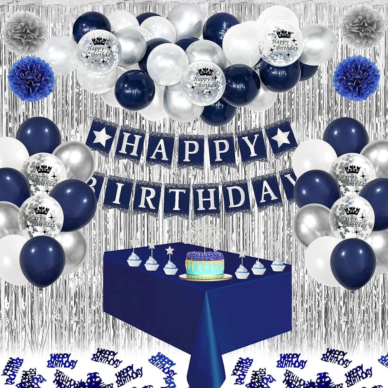 Decoraciones de Cumpleaños Azul, Globos Blancos Azul Marino, Pompones de Papel, Manteles Azul, 10 Confetti de Mesa, Globos de Confeti Látex para Adultos Hombres Niños