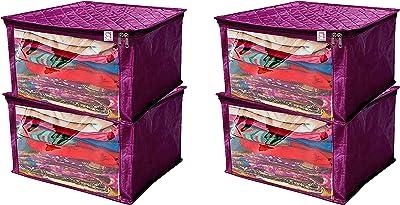 Atorakushon® Satin Saree Cover Blouse Garments Storage Bag Wardrobe Organiser Pack of 4 (Purple)
