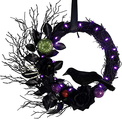 high quality Twinkle Star Halloween Lighted discount Wreath, Pre-lit Black outlet online sale Wreaths with Rose and Feathered Crow Light Up 20 LED Purple Lights, Natural Vines with Artificial Leaves, Front Door Wall Halloween Decorations outlet online sale