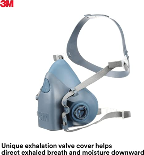 3M Reusable Respirator, Half Face Piece 7502, Use With Bayonet Cartridges/Filters (not included) for Gases, Vapors, D...