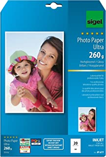 Sigel IP677 InkJet Ultra Photo Paper, glossy, 175.7 lbs, A4, 20 sheets