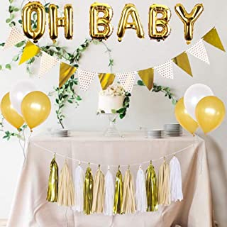 baby shower decorations neutral,oh baby balloon,gold and white balloons, white and gold banner, gold and white tassel set,oh baby decorations for baby shower,rustic baby shower decorations