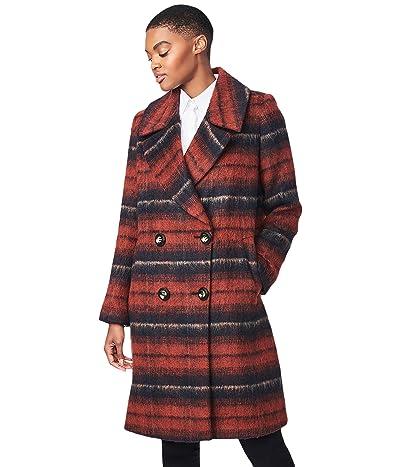 Bernardo Fashions Brushed Plaid Wool Coat (Rust Plaid) Women