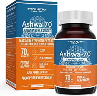 Sponsored Ad - Ashwagandha Extract - 35% Withanolides Concentration, Maximum Strength, Most Potent Available - 70 mg Witha...