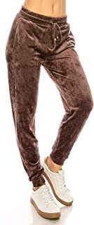 Women Velvet Velour Joggers - Solid Basic Premium Soft Stretch Warm Winter Sweatpants Pants
