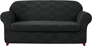 subrtex 2-Piece Sofa Slipcovers Stretch Knit Sofa Cover with Geometric Patchwork Pattern..