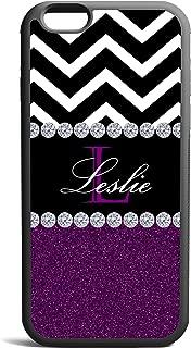 Purple Glitter Black Chevron Monogrammed Cover, Case Rubber Black For iPhone 6 Plus, iPhone 6 4.7