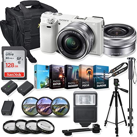$579 Get Sony Alpha a6000 Mirrorless Digital Camera 16-50mm f/3.5-5.6 OSS Lens Kit + Prime Accessory Bundle with 128GB Memory & Photo/Video Editing Software - White