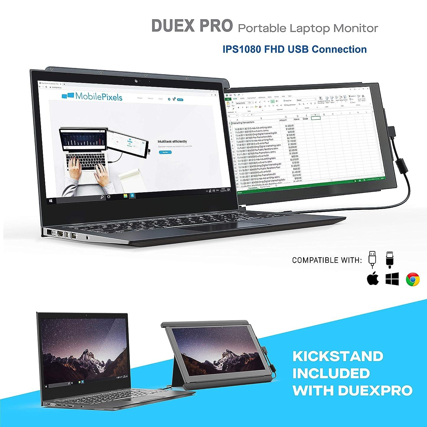 欺資格情報実際Duex Pro モバイルモニター ポータブルデュアルモニター ノートパソコン用 12.5インチ フルHD IPS モバイルディスプレイ USBタイプA タイプC 軽量 明るさ調節可能 アンチグレアポータブルディスプレイ Duex Pro with Kickstand