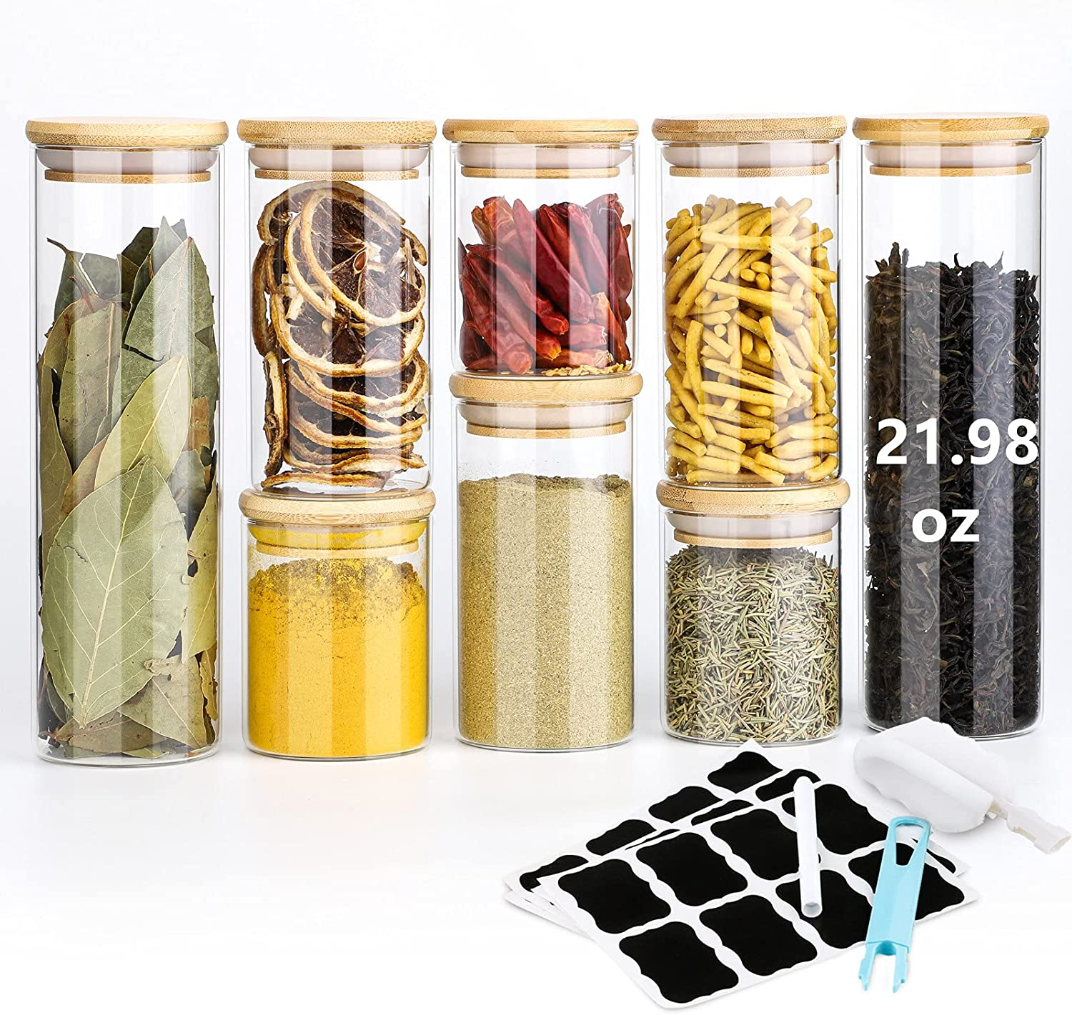 Cheap mail order sales Glass Jars with Lids Pack Washington Mall Storage Spice 8 Canist of