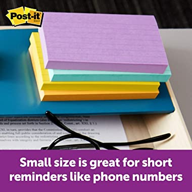 Post-it Notes, 3x5 in, 5 Pads, America's #1 Favorite Sticky Notes, Jaipur Collection, Bold Colors (Green, Yellow, Orange,
