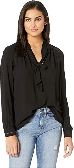 Like A Boss Crinkle Rayon Tie Neck Top