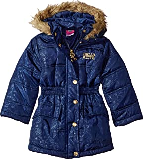 Hello Kitty Girls  All over printed long puffer with Faux Fur trim hood 2e23705b8a