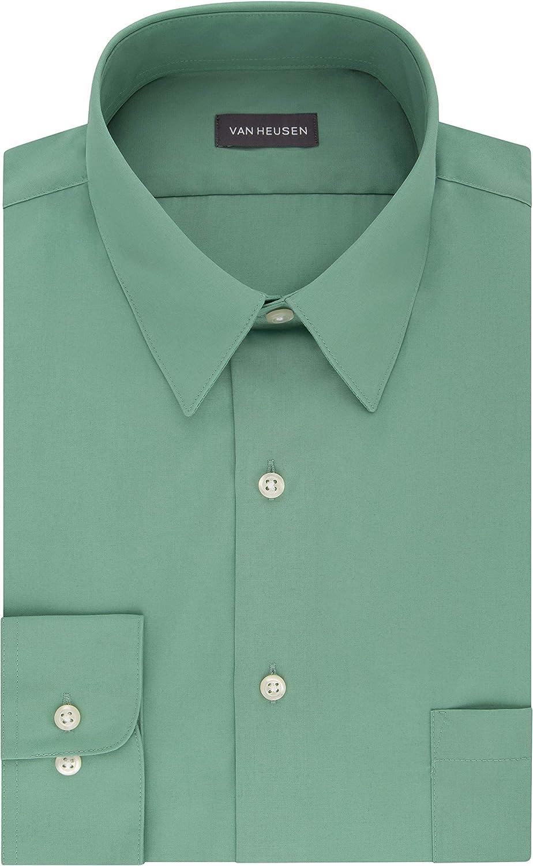 1940s Men's Shirts, Sweaters, Vests Van Heusen Mens Dress Shirt Fitted Poplin Solid  AT vintagedancer.com