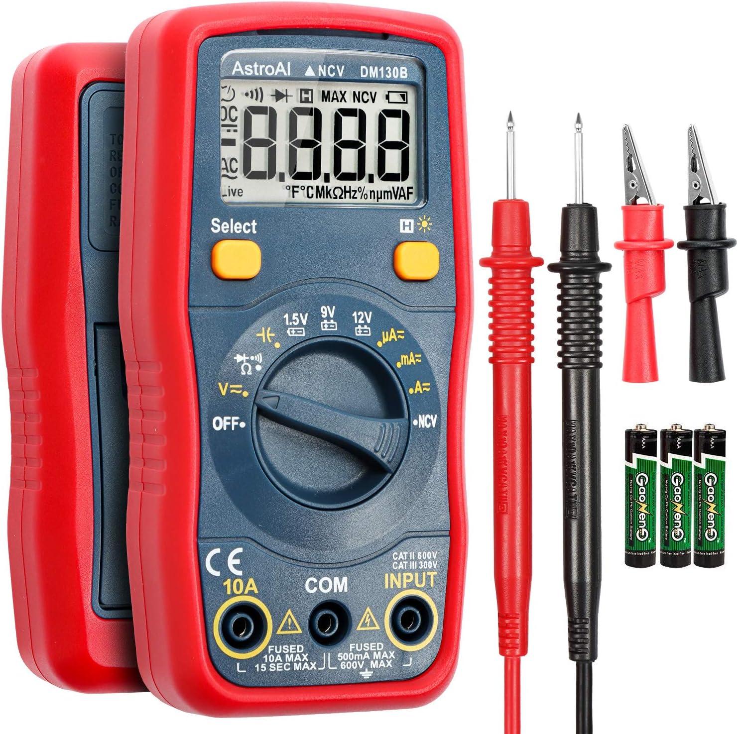 AstroAI Multímetro Digital Profesional Rango Automático Medidor de Corriente Voltaje AC/DC 1.5V 9V 12V y con Batería 1.5V Función de Voltaje Sin Contacto (NCV)