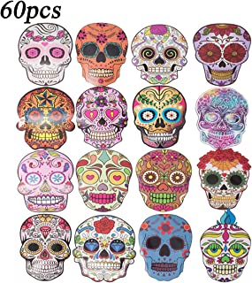 60pcs Funny Face and Skull Waterproof Sunlight-Proof Reusable Stickers PVC Decals for Luggage Skateboard Laptop Suitcase Book Covers Bicycle Children's Room Décor Guitar Graffiti DIY Teens Adults Girl