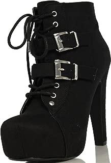 Black Faux Suede Lace-up Platform Ankle Bootie w/Double Buckle Straps