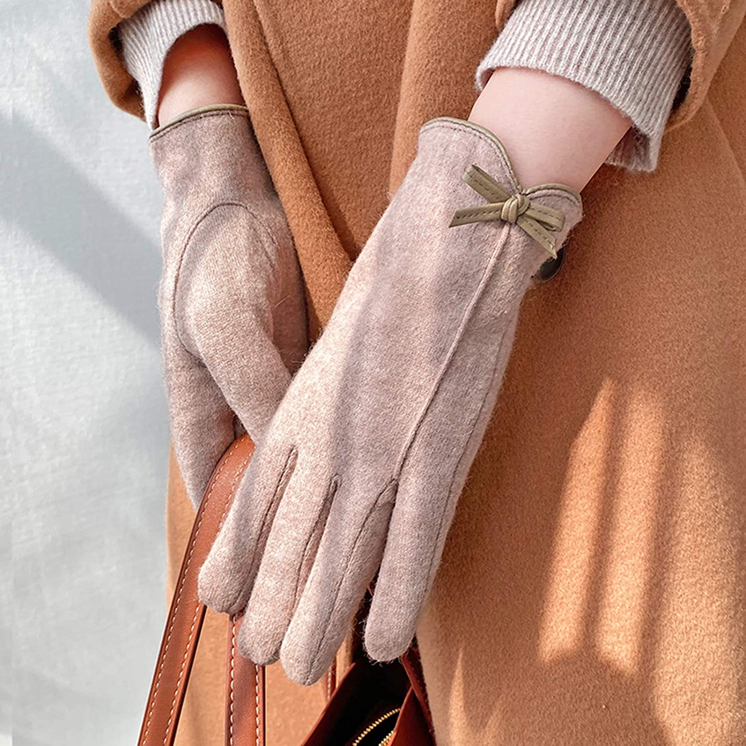 FOLDING Gloves Women's Warm Touch Screen Gloves for Smartphone Text Messages-Soft Suede Gloves (Color : Khaki)