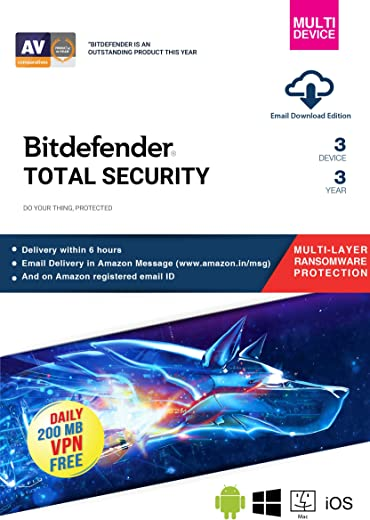 BitDefender Total Security Latest Version (Windows / Mac / Android / iOS) - 3 Devices, 3 Years (Email Delivery in 2 hours - No CD) 1