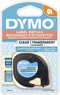 DYMO Authentic LetraTag Labeling Tape for LetraTag Label Makers, Black print on Clear pastic tape, 1/2'' W x 13' L, 1 roll...