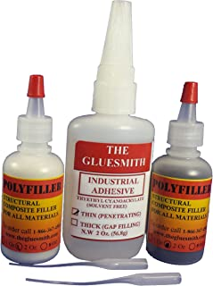 THE GLUESMITH Extra Large Plastic Repair Glue and Filling Powders It's Super Glue ON Steroids! Used for Automotive Parts Radiators and Headlights, for Most Plastics, Metal, Glass, Fiberglass, Rubber