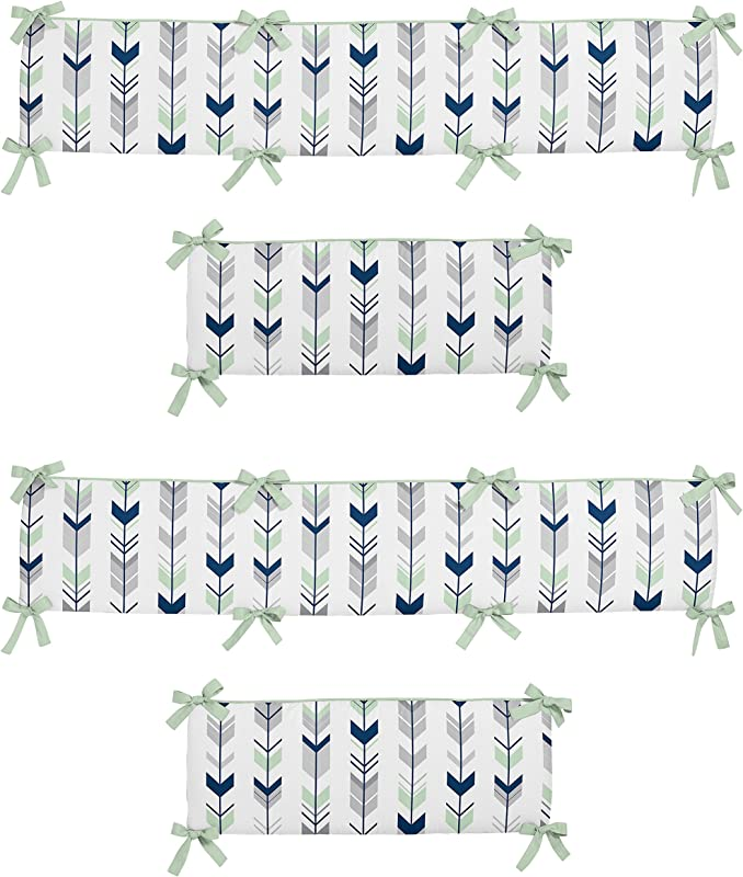 Sweet Jojo Designs Grey Navy And Mint Woodland Arrow Collection Baby Girl Or Boy Crib Bumper