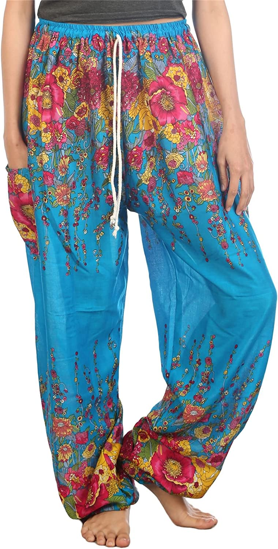 Lofbaz Pantalon Sarouel Femmes Paon Funky Floral avec Cordon