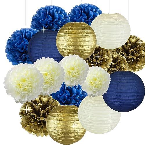 Cream Navy Blue Gold 8inch 10inch Tissue Paper Pom Flowers Honeycomb Lanterns