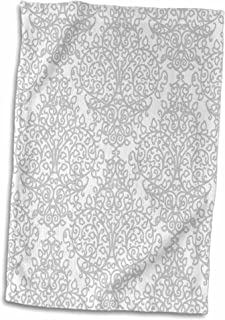 3D Rose Grey and White Damask-Gray Elegant Silver Swirling Victorian Stylish Traditional Pattern Towel, 15