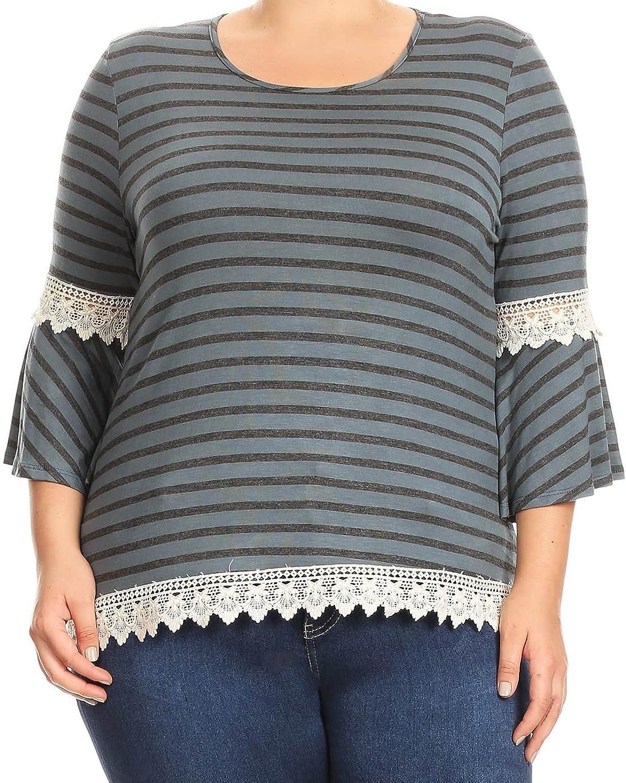 BNY Corner Women Plus Size Stripe Crochet Lace Jersey Tunic Knit Top Tee