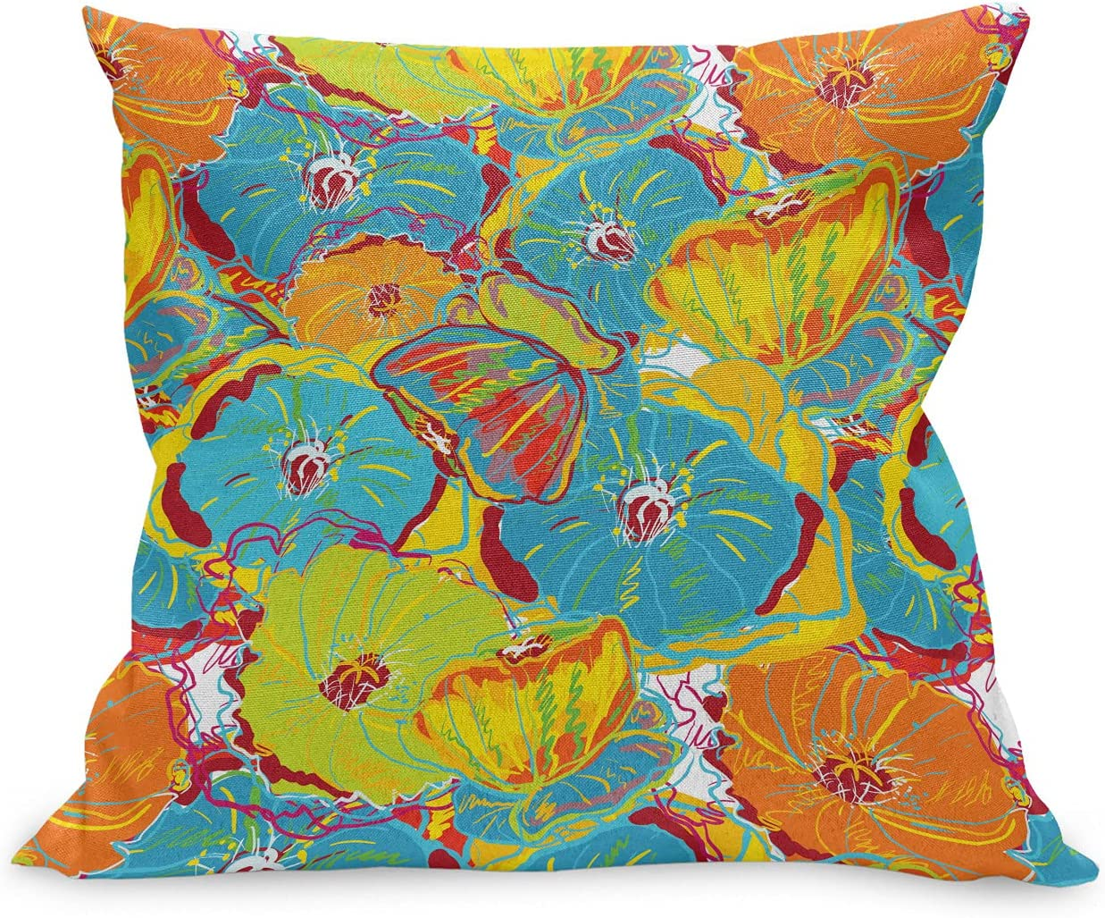 Ambesonne Poppy Flower Throw Pillow Bombing free shipping Cushion Colorfuls Blos Detroit Mall Case
