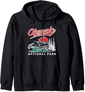 Olympic National Park Retro 80's Mountains Graphic Sweat à Capuche
