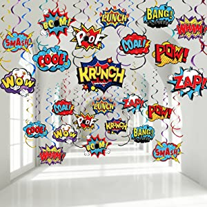 30 Pieces Hero Themed Party Decorations, Fun Hero Theme Party Sign Cutouts Foil Ceiling Hanging Swirls Streamers for Kids Adults Hero Birthday Celebrating Party Baby Shower Supplies
