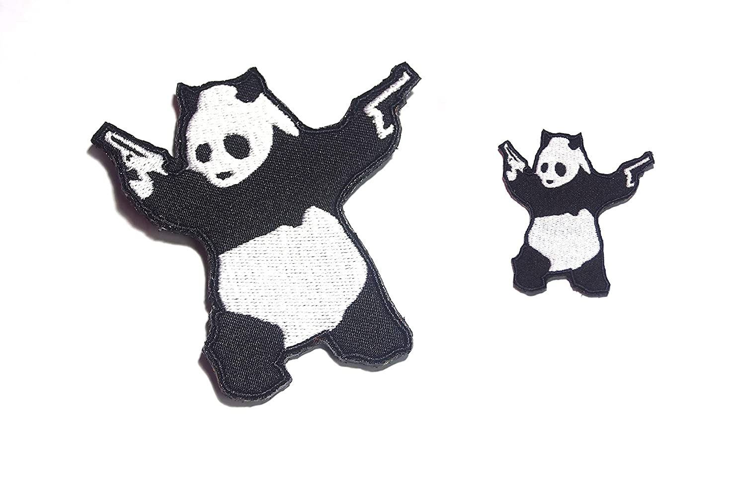 B43 Panda Bear Wielding Pistols Guns Shooting Embroidered Morale Patch 2 Pcs 8X8 and 4X4 cm Hook Backing