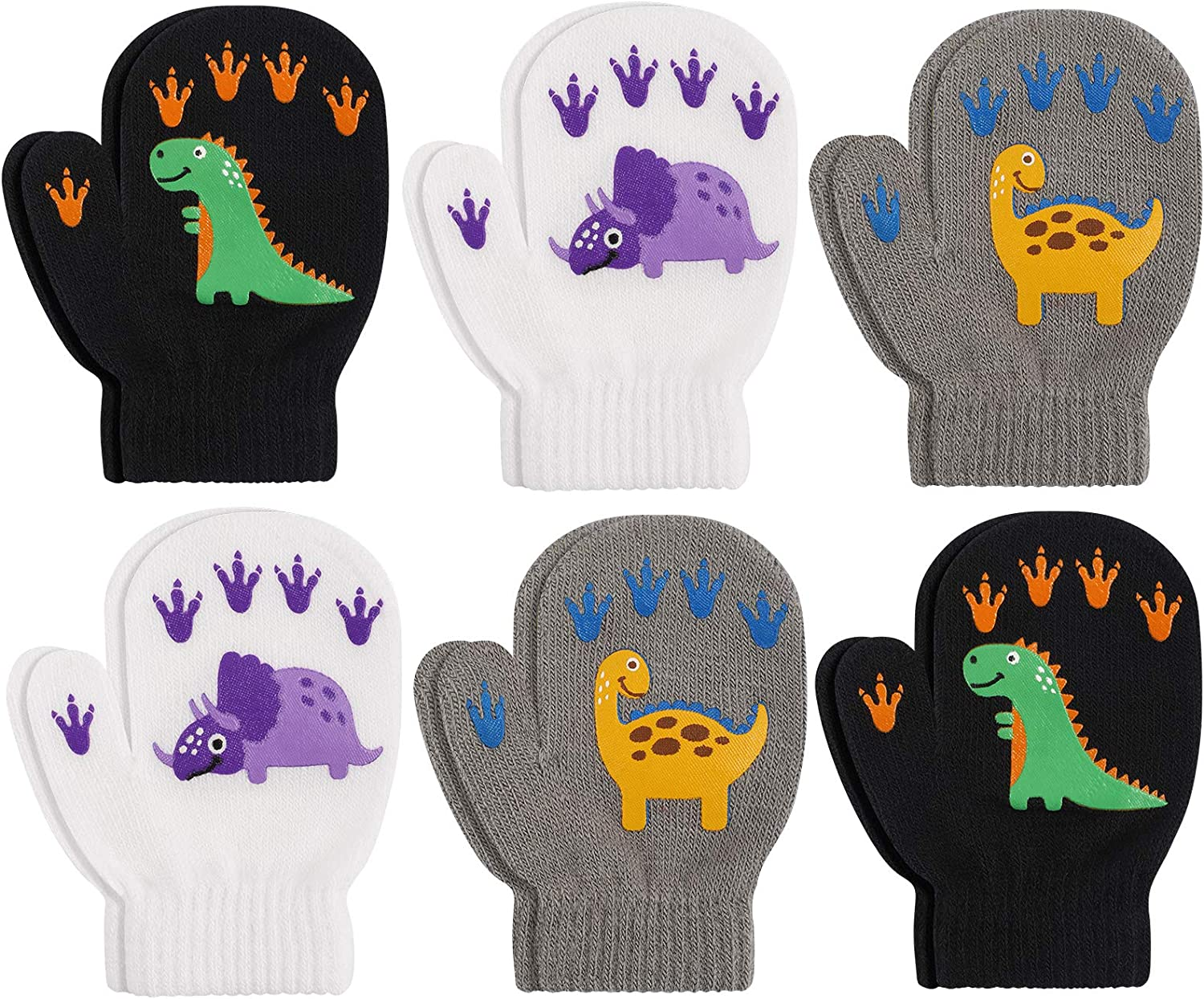 SunneeHome 6 Pack Valentine's Day Toddler Mittens Magic Stretch Knitted Gloves, Warm dinosaur Kids Knit Gloves for Little Girls Boys