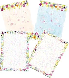 48 قرطاسية ورق كتابة، مجموعة ورق قرطاسية بتصميم فلورا ، مقاس A4 ، 4 أنماط مختلفة