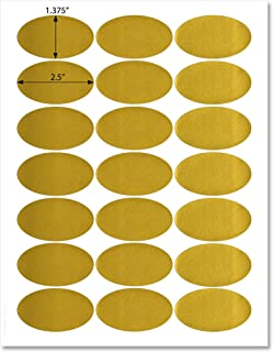 Shiny Gold Foil 2.5 x 1.37 inch Oval Labels, for Laser Printers with Template and Printing Instructions, 5 Sheets, 105 Labels (GO25)