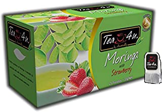 Moringa with Strawberry Tea - 25 Tea Bags Bulk | Strawberry Flavoured | Moringa Oleifera | Fruity Tea | Original Tea | Ceylon Tea | Naturally sweet brew | Natural & Pure & Unique Quality, From Sri Lan